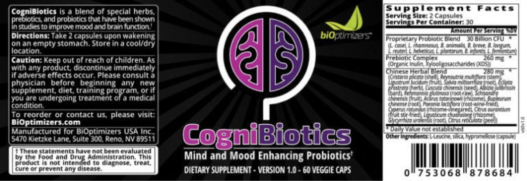 What are the ingredients of Cognibiotics Pills
